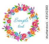 spring flowers wreath | Shutterstock .eps vector #43142383