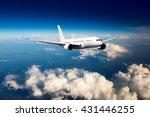 white passenger wide body... | Shutterstock . vector #431446255