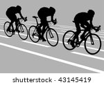 vector drawing cyclists while... | Shutterstock .eps vector #43145419