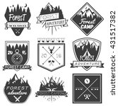 set of forest camp labels in... | Shutterstock . vector #431517382