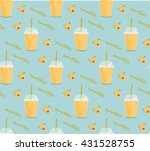 apricot smoothie seamless... | Shutterstock .eps vector #431528755