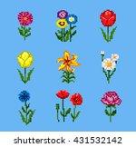 Set Of Various Pixel Flowers