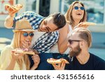 happy group of people eating... | Shutterstock . vector #431565616