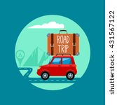 car with luggage. road trip.... | Shutterstock .eps vector #431567122