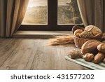 fresh bread on the kitchen... | Shutterstock . vector #431577202