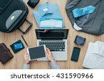 corporate businessman packing... | Shutterstock . vector #431590966