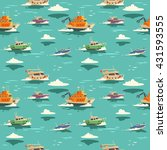 seamless pattern with ships.... | Shutterstock .eps vector #431593555