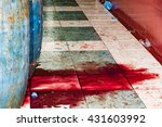 Red Tuna Blood On The Floor At...
