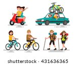 leisure. young couple riding a... | Shutterstock .eps vector #431636365