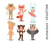 set boys and girls dressed in... | Shutterstock .eps vector #431637268