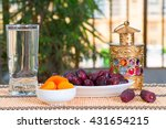 table with fruits   dates and...   Shutterstock . vector #431654215