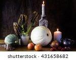 vanitas style pumpkin ... | Shutterstock . vector #431658682