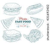 sketch fast food menu | Shutterstock .eps vector #431692402