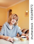 lovely middle aged blond woman... | Shutterstock . vector #431698972