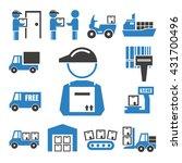 shipping  logistics icon set | Shutterstock .eps vector #431700496