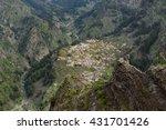 Small photo of Aerial view from viewpoint Eira do Serrado into the Nun's Valley (Curral das Freiras), Central Madeira, Portugal