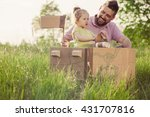 father and toddler girl playing ...   Shutterstock . vector #431707816