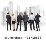 business team standing in front ... | Shutterstock . vector #431718886