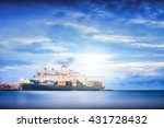 container cargo ship in the... | Shutterstock . vector #431728432