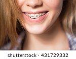 portrait of teen girl showing... | Shutterstock . vector #431729332