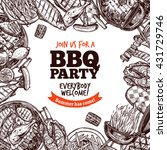 bbq grill party monochrome... | Shutterstock .eps vector #431729746