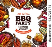 bbq grill party color sketch... | Shutterstock .eps vector #431729776