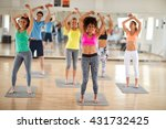 cheerful fitness group dancing | Shutterstock . vector #431732425