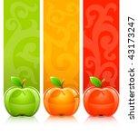 three coloured apples on... | Shutterstock .eps vector #43173247