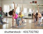 yoga training in course indoor   Shutterstock . vector #431732782