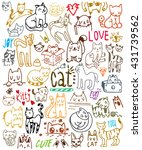 colorful cat set on white... | Shutterstock .eps vector #431739562