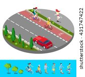 Isometric City. Bike Path With...