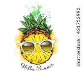half pineapple fruit in a... | Shutterstock .eps vector #431753992