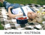 blond girl relax in nature.... | Shutterstock . vector #431755636