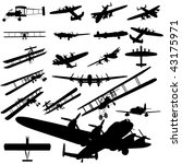Vector Old Plane Silhouette Set