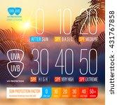 sunblock spf scale icons of uv...   Shutterstock .eps vector #431767858