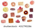 set of sweets  donut  cake ... | Shutterstock . vector #431790286