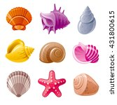 colorful tropical shells... | Shutterstock .eps vector #431800615
