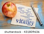 Stock photo vitality and vital energy word cloud handwriting on a napkin with a fresh apple 431809636