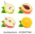 Isolated Fruits. Various Halve...