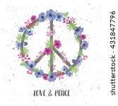 peace hippie symbol with flower ... | Shutterstock .eps vector #431847796