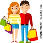 shopping concept with couple... | Shutterstock .eps vector #431851756
