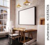desk in hipster style loft.... | Shutterstock . vector #431858236