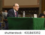 Small photo of WASHINGTON, DC, USA - FEBRUARY 16, 2005: U.S. Federal Reserve Chairman Alan Greenspan testifies before Congress.