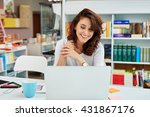 happy small business manager... | Shutterstock . vector #431867176
