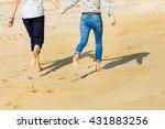 couple in love barefoot running ... | Shutterstock . vector #431883256