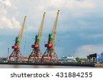 cranes in the river port | Shutterstock . vector #431884255