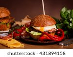 dinner with burger  | Shutterstock . vector #431894158