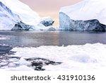 Icebergs On Arctic Ocean In...