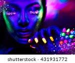 Fashion Model Woman In Neon...