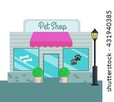 Stock vector pet shops and stores front flat style vector illustration 431940385